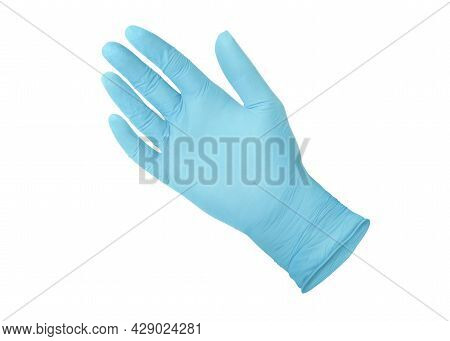 Medical Nitrile Gloves. Blue Surgical Gloves Isolated On White Background With Hands. Rubber Glove M