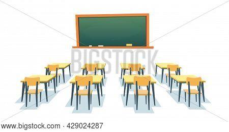 School Chalkboard And Desks. Empty Blackboard, Elementary Classroom Wooden Desk Table And Chair Educ