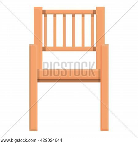 Outdoor Wood Chair Icon Cartoon Vector. Wooden Furniture. Cafe Terrace