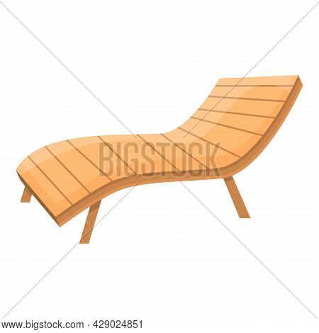Wood Chaise Lounge Icon Cartoon Vector. Beach Chair. Sunbed Deck