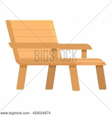 Rest Chaise Lounge Icon Cartoon Vector. Beach Chair. Parasol Sunbed
