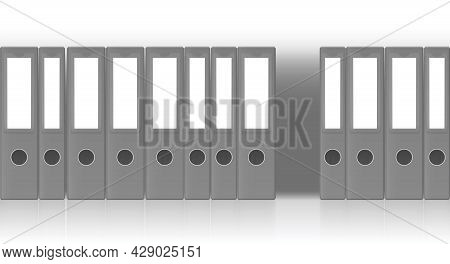 Gray Ring Binders, One Is Missing. Tick And Thin File Folder Set, Unlabeled Seamlessly Expandable Ro