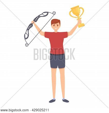 Archery Winner Icon Cartoon Vector. Archer Man. Sport Game