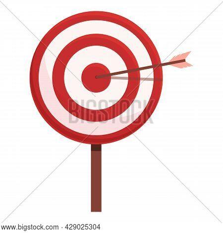Arrow Target Icon Cartoon Vector. Archery Bullseye. Goal Aim Shot