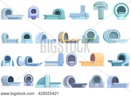 Magnetic Resonance Tomography Icons Set Cartoon Vector. Ct Scan. Medical Radiology