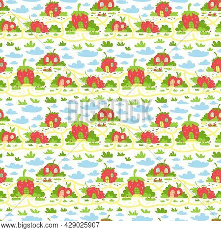 Children's Seamless Pattern With Cute Houses In The Form Of Strawberries, Raspberries, Apples, Tomat