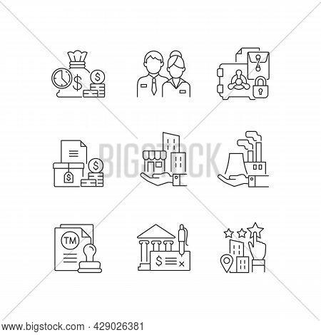 Business Development Linear Icons Set. Company Staff. Short-term Deposit. Trademark. Bank Draft. Cus