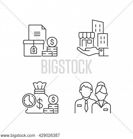 Building Ownership Linear Icons Set. Account Receivable. Business Investment. Company Staff. Customi