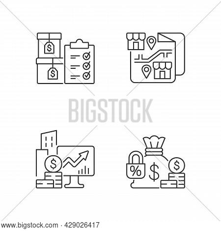 Company Stocks And Franchise Linear Icons Set. Finished Goods. Financial Relation. Increment Monitor