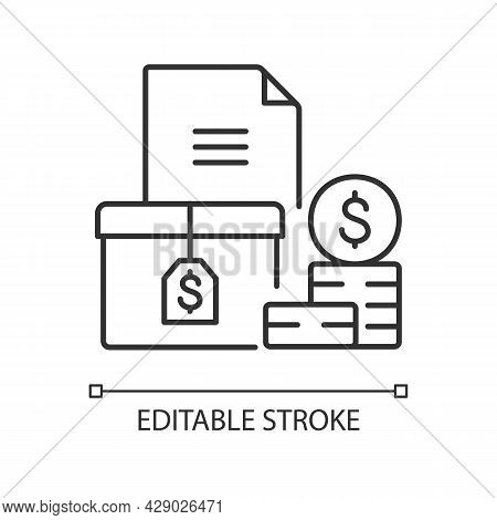 Accounts Receivable Linear Icon. Money Balance. Financial Management. Document Currency. Thin Line C