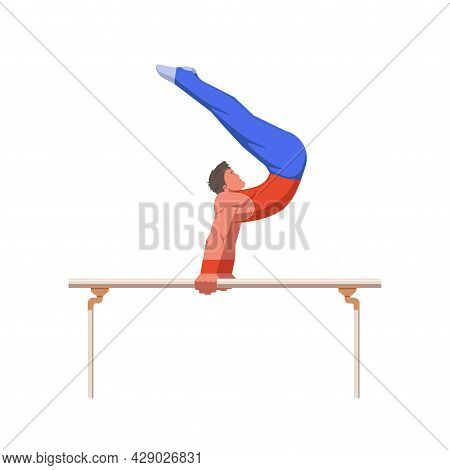 A Gymnast With An Athletic Physique Performs On Parallel Bars, Athlete Shows Static Hold Skill With