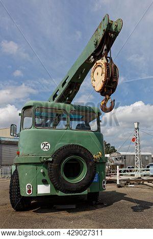 Mulhouse, France, June 26, 2021 : Crane. La Cité Du Train (train City), Formerly Named French Railwa