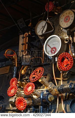Mulhouse, France, June 26, 2021 : Dials And Wheels In Cité Du Train (train City), Formerly Named Fre