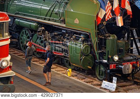 Mulhouse, France, June 26, 2021 : Visitors Of La Cité Du Train (train City), Formerly Named French R