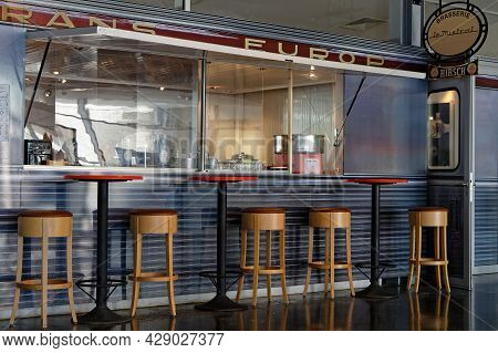 Mulhouse, France, June 26, 2021 : Restaurant Entrance In Cité Du Train (train City). Formerly Named