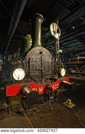 Mulhouse, France, June 26, 2021 : Very Old Loco. La Cité Du Train (train City), Formerly Named Frenc