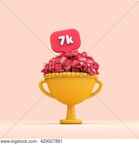 Thank You 7k Social Media Followers Celebration Trophy. 3d Render
