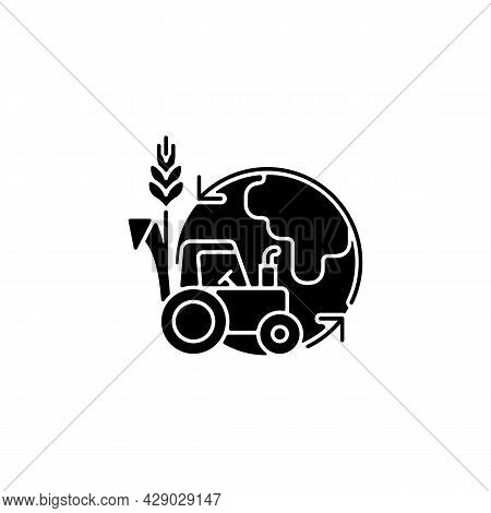 Environmental Sustainability In Agriculture Black Glyph Icon. Healthy Ecosystem And Soil. Avoid Nega