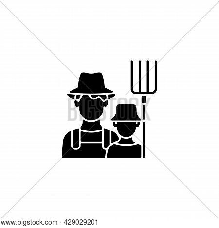 Subsistence Farming Black Glyph Icon. Produce Goods For Family. Domestic Food Production. Manual Lab