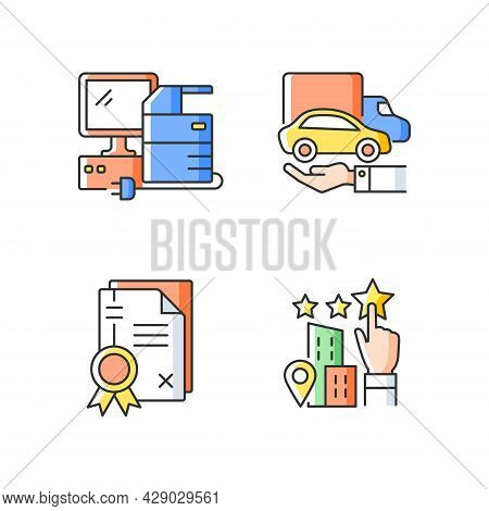 Company Image Rgb Color Icons Set. Property Right Granting. Patents And Goodwill. Technical Equipmen
