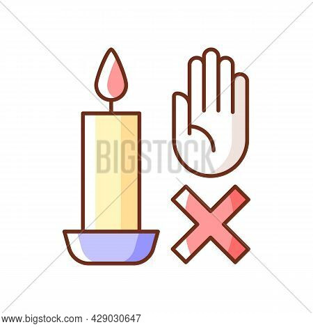 Never Touch Burning Candle Rgb Color Manual Label Icon. Safety Measures. Place Container On Stable S