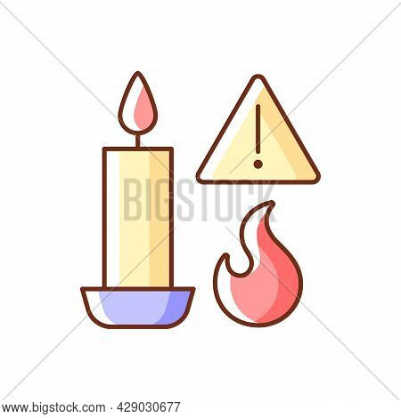Fire Danger From Candles Rgb Color Manual Label Icon. Burning Combustible Materials. Fire Hazard In