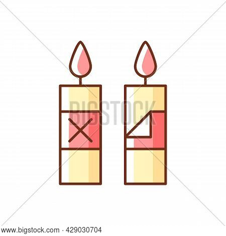 Remove Candle Packaging Before Use Rgb Color Manual Label Icon. Eliminate Protective Plastic Sleeve