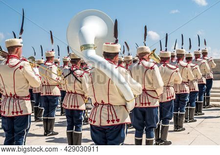 Military Orchestra Of Bulgaria. Stage, Shipka. Musicians From A Military Band Photographed From Behi