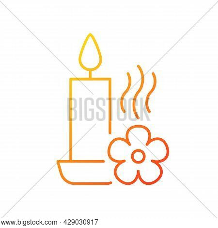 Scented Candle Gradient Linear Vector Manual Label Icon. Fragrant Oils, Wax Mixture. Thin Line Color