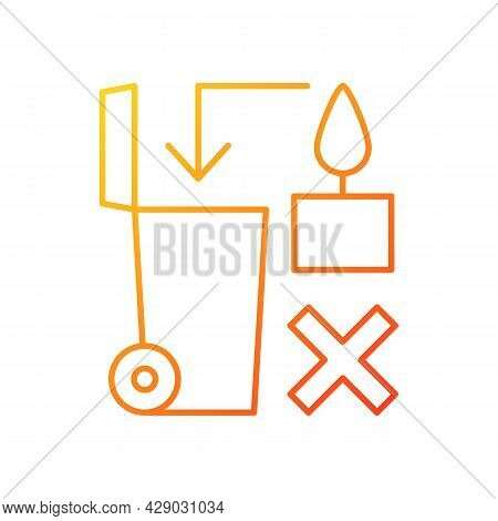 Never Throw Hot Wax In Trash Bin Gradient Linear Vector Manual Label Icon. Thin Line Color Symbols.