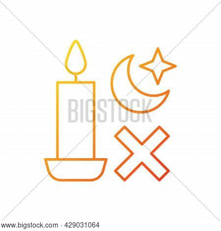 Never Use Candle While Sleeping Gradient Linear Vector Manual Label Icon. Fire Hazard. Thin Line Col