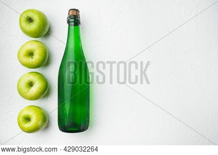 Apple Cider Vinegar Or Fermented Fruit Drink Set, On White Stone Table Background, Top View Flat Lay