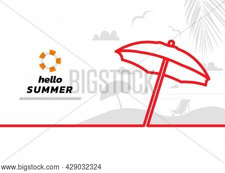 Minimal Line Beach And Sea Background. Hello Summer Continuous Line Drawing, Vector Illustration. Ve