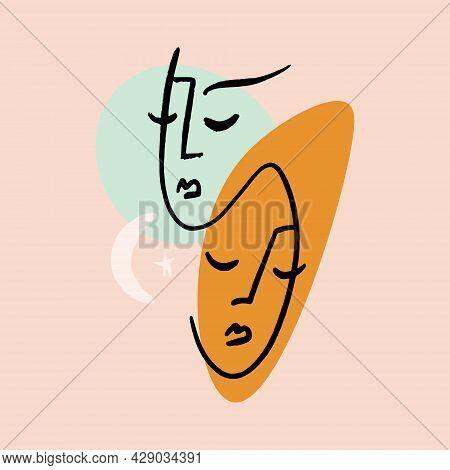 Modern Abstract Line Art Faces, Minimalist Twins Line Art.
