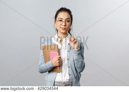 Education, Teachers, University And Schools Concept. Smart And Creative Young Woman, Asian Tutor Pre