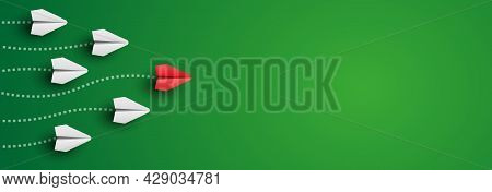 Background With Individual Red Leader Paper Plane Lead Other. Business And Leadership Concept