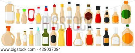 Illustration Theme Big Kit Varied Glass Bottles Filled Liquid Sauce Sesame