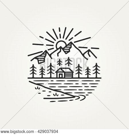 Landscape Mountain Outdoor Adventure Hand Draw Sketch Line Art Logo Template Vector Illustration Des