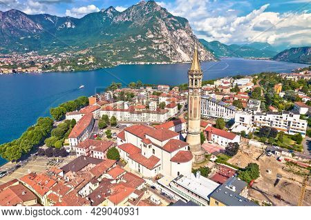Town Of Lecco Aerial Panoramic View, Como Lake In Lombardy Region Of Italy