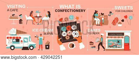 Confectionery Infographics With Sweets Donuts Ice Cream Van Order Cafe Visitors Waiter Flat Vector I