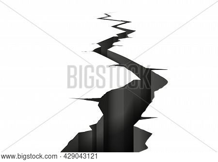 Ground Crack Realistic Composition With Perspective View Of Isolated Black And White Image Of Earth