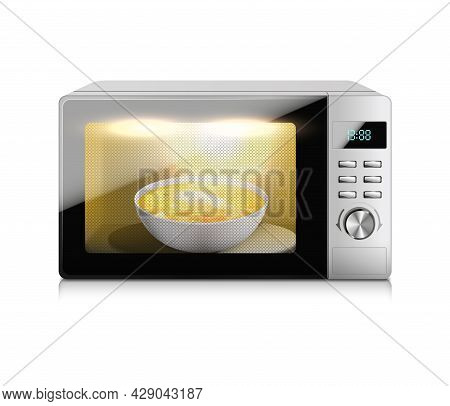 Microwave Oven Realistic Composition With Isolated Image Of Working Microwave And Dish With Soup Ins