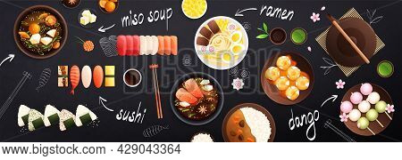 Traditional Japanese Food Black Background Horizontal Banner Header With Sushi Miso Soup Ramen Sweet