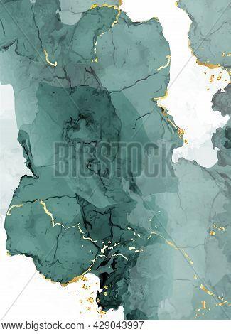 Classic Emerald Watercolor Fluid Painting Vector Design Card.