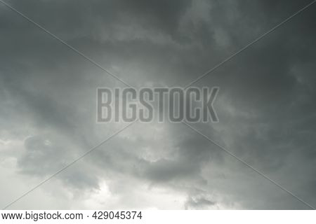 Dark Layers Cloudy Rain Coming. Dark Storm Clouds Background. Dark Sky Full Of Clouds Before The Rai