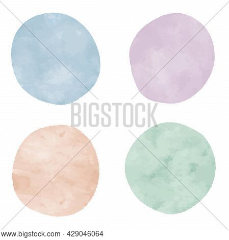 Collection Of Round Pastel Watercolor Shapes, Vector Illustration Design Elements