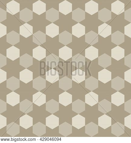 Seamless Abstract Geometric Pattern. Brown Hexagon Shape Background. Arrange Them In A Zigzag Manner