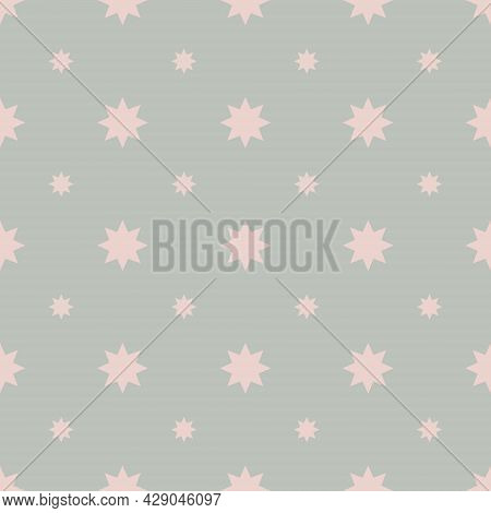 Seamless Abstract Geometric Background. Pattern With Small And Large Eight-pointed Stars In Pastel C