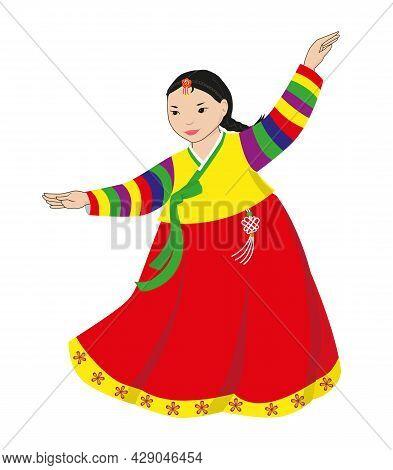 Korean Dancer. Little Girl Dancing Korean Folk Dance In Traditional Dress. Vector Illustration Isola
