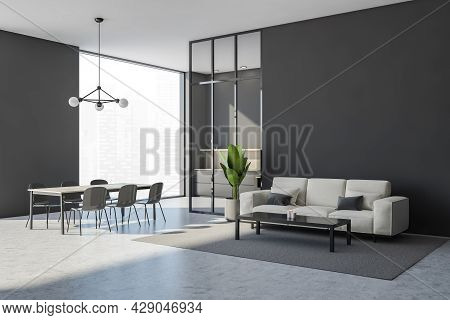 Grey Living Room Interior With Sofa, Coffee Table And Indoor Plant. Panoramic Dining Area With A Fra
